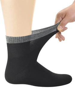 Men's Bamboo Diabetic Ankle Socks with Seamless Toe and Non-Binding Top, 6 Pairs