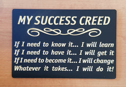 Success Creed Plaque for inspiration and motivation