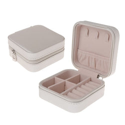 Travel Jewellery Case Boxes Portable Jewellery Box Zipper Leather Storage