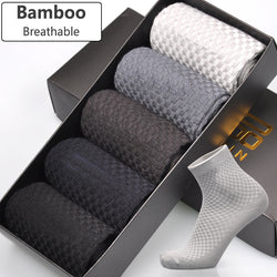 Men Bamboo Fiber Socks 5 Pair, Brand New Business Anti-Bacterial Deodorant Breathable