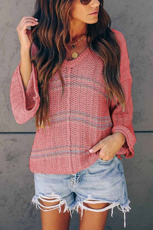 zeewer V-Neck Bell Sleeve Sweater