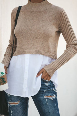 Zeewer Casual Stitching Autumn Sweater Top