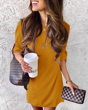 Zeewer Half Sleeve Early Autumn Shirt Dress