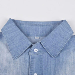 zeewer Button Short Sleeve Denim Dress