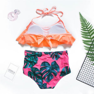 Zeewer Sexy Flounce Printing Two-piece Swimwear