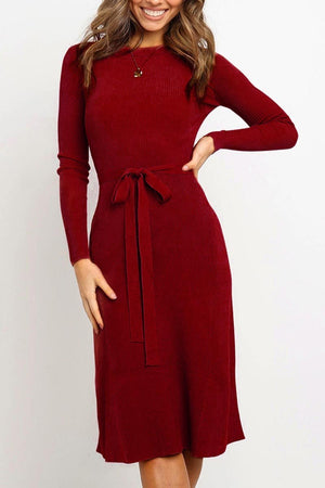 Zeewer Lace-up Solid Autumn Dress