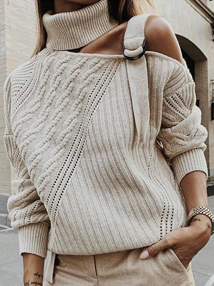 Zeewer Turtleneck Patchwork Apricot Sweater