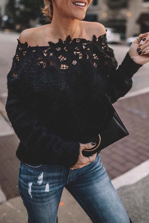 Zeewer Lace Patchwork Black Sweater