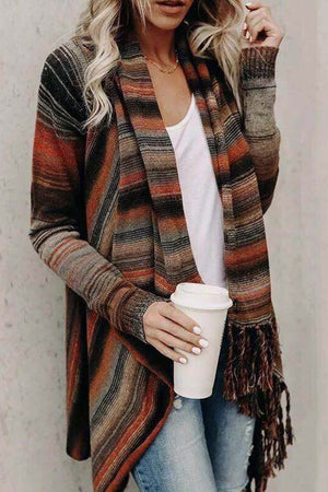 Zeewer Striped Shawl Sweater 2 Styles