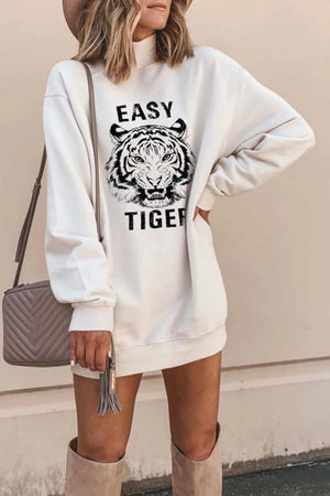 Zeewer Tiger Printed White Mini Dress (2 Colors)