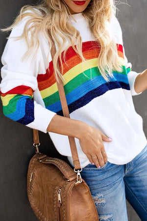 Zeewer Rainbow Design White Sweater