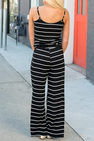 Zeewer Spaghetti Strap Striped Jumpsuit