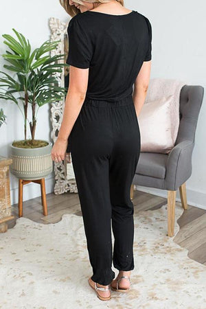 Zeewer Casual V Neck Solid Jumpsuit