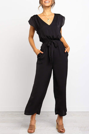 Zeewer V Neck Black Lace-up Jumpsuit