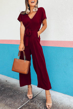 Zeewer V Neck Lace-up Jumpsuit