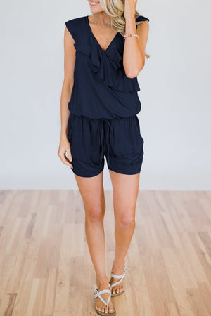 Zeewer V Neck Ruffle Design Romper--Dark Blue