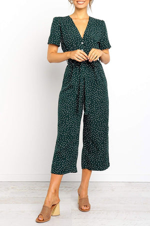 Zeewer V Neck Dot Printed Straight Jumpsuit