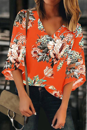 Zeewer V Neck Printed Hollow-out Blouse