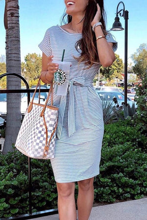 Zeewer Striped Knot Design Grey Midi Dress