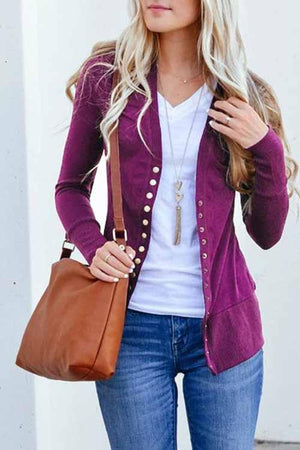 Zeewer Long Sleeves Buttons Design Cardigan Tops(7 Colors)