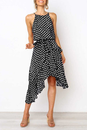Polka Dot midi black dress