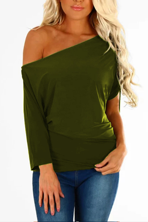 Zeewer Off One Shoulder Comfy Essential T-shirt Top