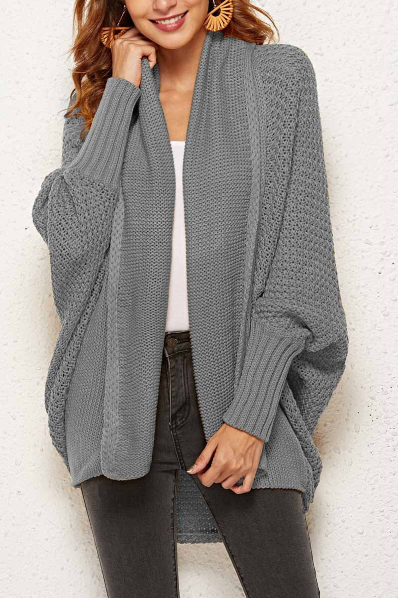 Zeewer Batwing Sleeve Sweater Cardigan (4 Colors)