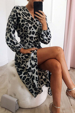 Zeewer V Neck Sexy Leopard Dress