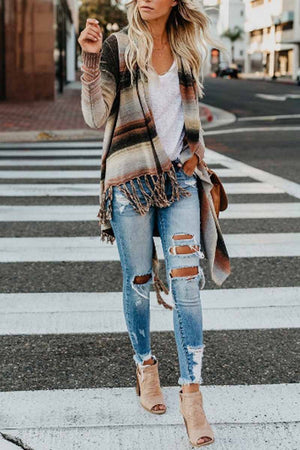 Zeewer Tassel Cardigan Sweater Tops