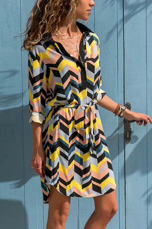 zeewer Chiffon Striped Belt Shirt Dress