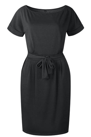 Zeewer O Neck Midi Dress With Belt