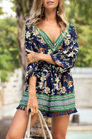 Zeewer V Neck Printed Tassel Design Romper