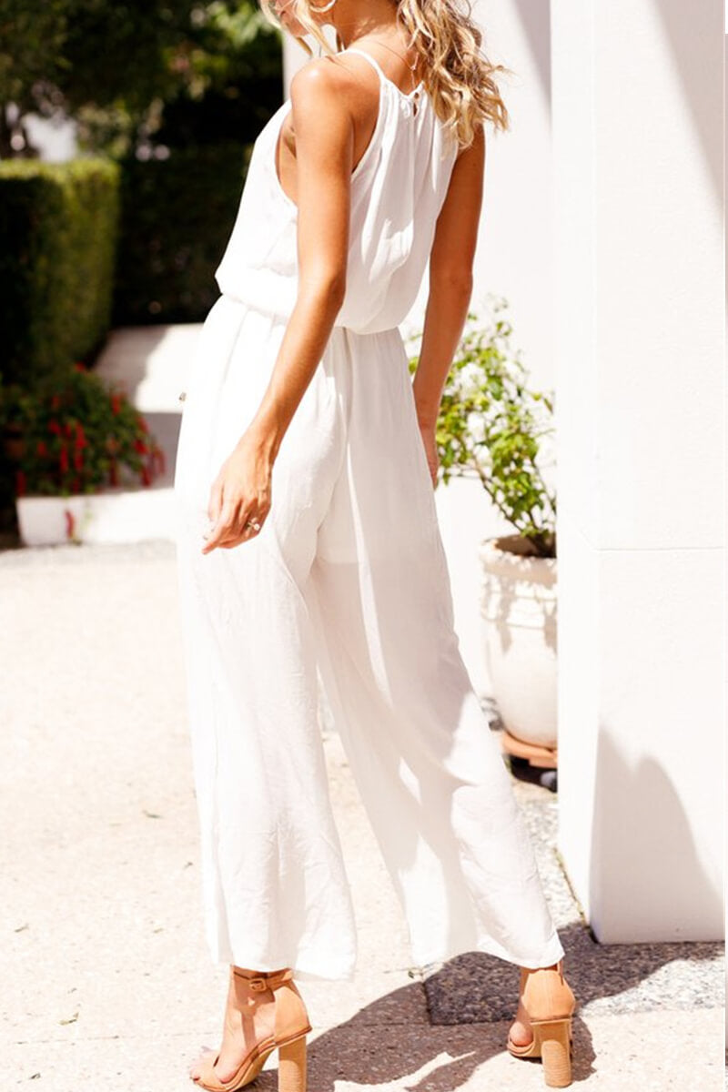 Zeewer White Cotton Sleeveless Jumpsuit