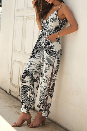 Zeewer V Neck Plants Printed Jumpsuit