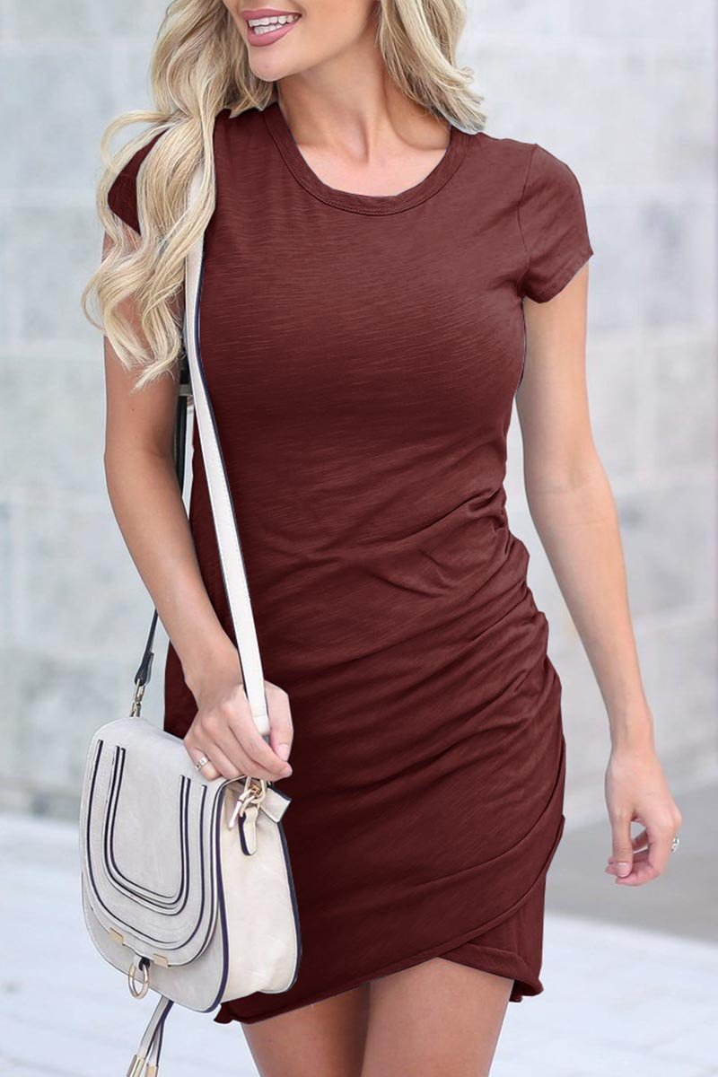 zeewer Daily Round Neck Short Sleeves Mini Dress(4 Colors)