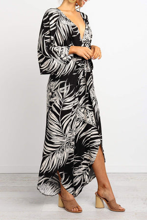 Zeewer V Neck Print Split Black Jumpsuit