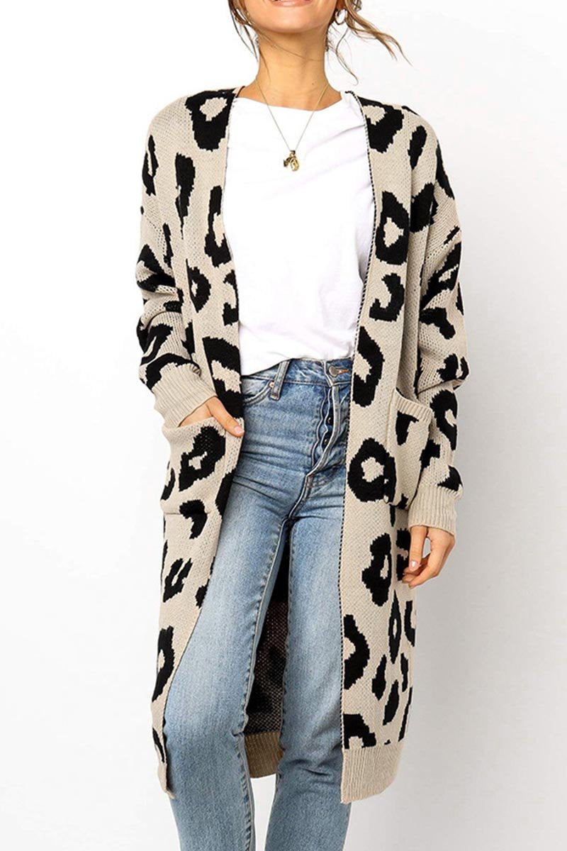 Zeewer Leopard Print Sweet Comfy Cardigan Tops Sweater(3 Colors)