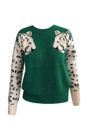 Zeewer Snow Leopard Design Knit Sweater