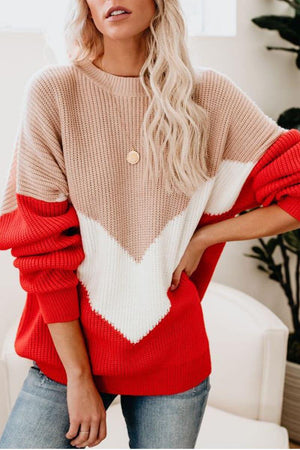 Zeewer Comfy Loose Stitching Sweater(2 Colors)