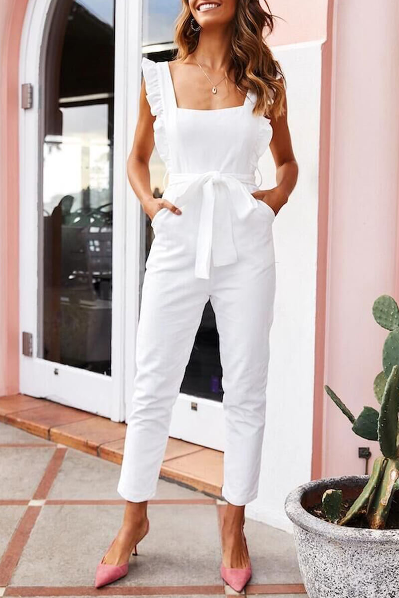 Zeewer Fashion Casual Ruffled Square Collar Sling Jumpsuit