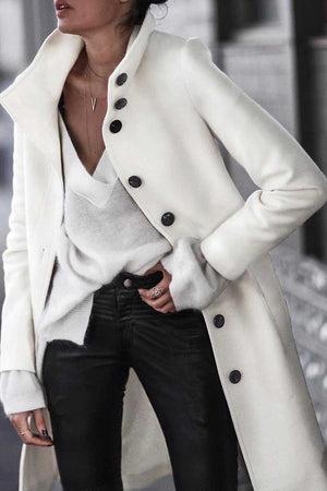 Zeewer Button Down Long White Coat