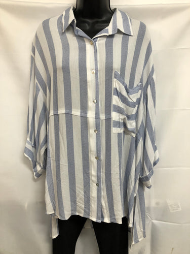 3/4 Striped Button Up Top