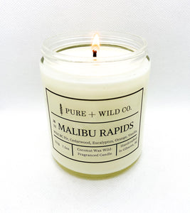 № 11 MALIBU RAPIDS - Fir, Cedarwood, Eucalyptus, Orange, Vanilla PURE + WILD CO. Cotton Wick