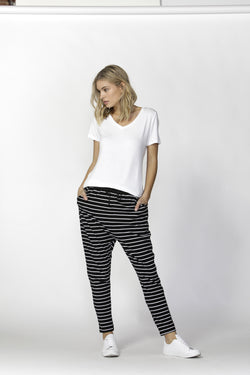 Betty Basic Jade Pant Black/White Stripe