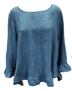Linen Button Back 3/4 Sleeve Top Teal