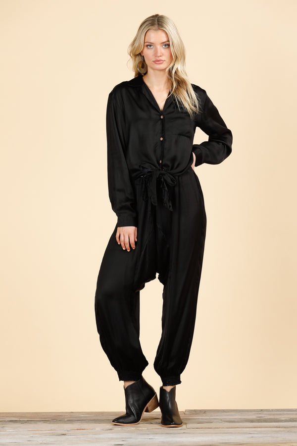 Nicola Pant Black Satin
