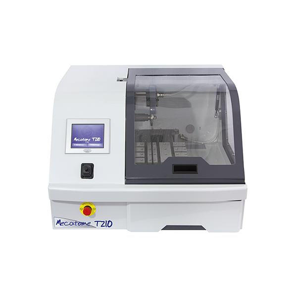 Presi Mecatome T210 rapid cutting machine closed hood front angle
