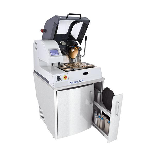 Presi Mecatome T330 high capacity cutting machine open hood on cabinet base unit