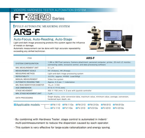 Future Tech FM-ARS-F Automatic Micro Hardness Tester