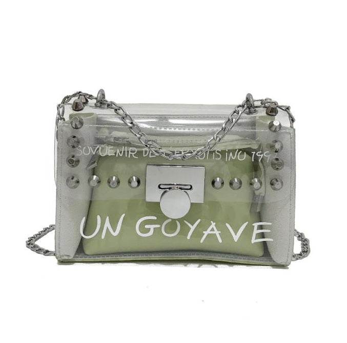 Pastel green women's handbag with silver detail and chain strap